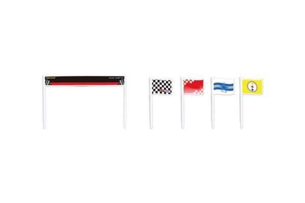 Teknotoys Slot 1:43 Flaggen (4) und Banner (1) mit Halterung (12)
